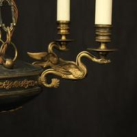 French Gilded Brass Empire 6 Light Chandelier (4 of 10)