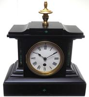 Amazing French Slate Mantel Clock Timepiece Mantle Clock with Machilite Inlay (2 of 11)