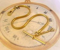 Vintage Pocket Watch Chain 1970 12ct Gold Plated Snake Link Albert With T Bar (2 of 10)