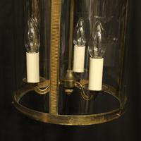 French Convex Gilded Brass Triple Light Antique Hall Lantern (8 of 10)