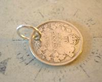 Antique Pocket Watch Chain Fob 1902 Silver Canadian 10 Cents Lucky Coin Fob (5 of 6)