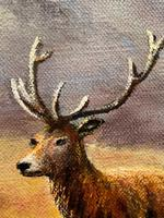 """Oil Painting Scottish Stags """"Denizens of the Highlands"""" Signed Wendy Reeves (41 of 45)"""