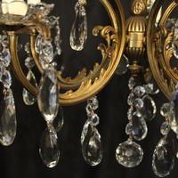 Italian Gilded Brass 5 Light Antique Chandelier (10 of 10)