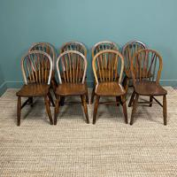 Eight Country House Elm Antique Kitchen Chairs (2 of 8)