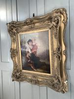 Antique Georgian early Victorian oil painting portrait of children in gesso frame (2 of 9)