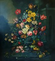 Dutch 18thc Manner RARE Huge Pair Vintage Fruit Floral Still Life Oil Paintings (21 of 23)