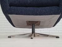 Danish Swivel Armchair with Stool, Completely Renovated-reupholstered, Furniture Wool, Retro Velor, 70s (13 of 17)