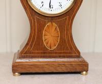 Edwardian Oak & Inlay Balloon Clock (4 of 8)