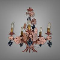 Vintage French 5 Arm Toleware Ceiling Light Chandelier with Grapes (6 of 7)