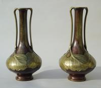 Pair of Signed Japanese Meiji Overlaid Bronze Vases (6 of 8)