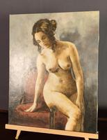 Mid Century Signed Oil on Canvas Female Nude (6 of 6)