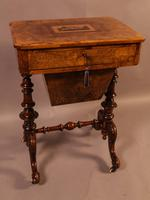 Good Victorian Ladies Sewing Table inlaid with castle ruins (6 of 10)