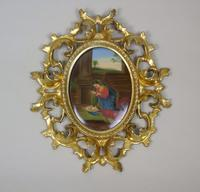 Italian Porcelain Plaque in Giltwood Hand Carved Frame Madonna & Child (5 of 7)