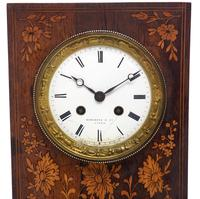 Wonderful Offices French Empire Mantel Clock Carved Floral Inlay (7 of 10)