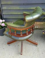 Vintage Mahogany Green Leather Captains Chair (4 of 6)