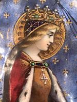 Antique Gothic Framed Enamel of St Elisabetha of Hungary Carrying Roses (6 of 11)