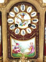 Incredible French Sevres Mantel Clock French Striking 8-day Garniture Clock Set (9 of 19)