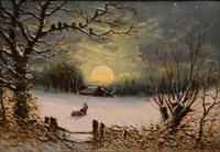"Oil painting Pair by Robert Finlay McIntyre ""Rabbits in a winter landscape"" and ""Trudging home through the snow"" (4 of 6)"