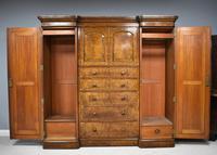 19th Century Victorian Inverted Breakfront Burr Walnut Wardrobe (8 of 10)