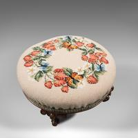 Small Antique Footstool, English, Walnut, Needlepoint Tapestry, Early Victorian (6 of 12)