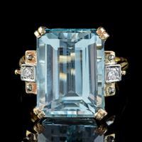 Vintage Aquamarine Diamond Ring 14ct Gold 12ct Emerald Cut Aqua (2 of 8)
