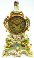 Antique 8 Day Porcelain Mantel Clock Sevres Green Floral French Mantle Clock (2 of 6)