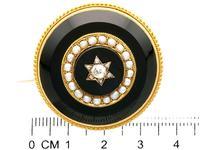 0.41ct Diamond, Pearl & Black Onyx, 18ct Yellow Gold Brooch c.1890 (7 of 9)