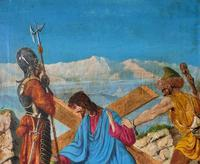 Lovely 19th Century Religious Old Master Christ & Cross Oil Painting - Set 14 Available (12 of 19)