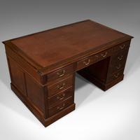 Antique Partner's Desk, English, Mahogany, Leather, Writing Table, Edwardian (7 of 12)