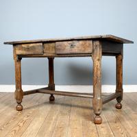 18th Century English Twin Drawer Oak Table