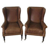 19th Century Pair of Wingback Leather Armchairs (3 of 6)