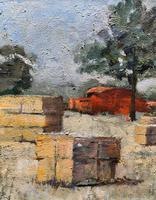 Lovely Original 20th Century Vintage Impressionist Harvest Haystack Landscape Painting (6 of 12)