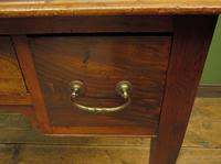 Antique Writing Table with Drawers and Aged Leather Top (6 of 19)