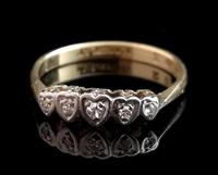 Vintage Art Deco Diamond Heart Ring, 18ct Gold & Platinum (4 of 12)