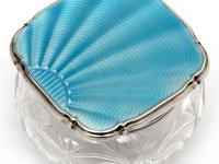 Silver and Enamel Jar with an Engine Turned Sun Burst Blue Guilloche Enamel Lid (4 of 5)