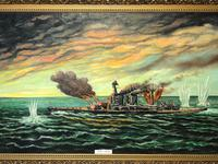 "Large Marine Oil Painting WW2 Sea Battle ""HMS Battleship Hood The Last Moments"" (4 of 8)"