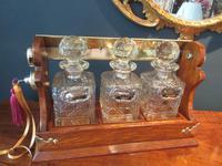 Late Victorian Polished Oak Three Bottle Tantalus (6 of 10)