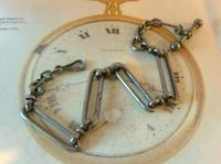 Georgian Pocket Watch Chain 1830s Antique Steel Large Fancy Albert With T Bar (3 of 12)