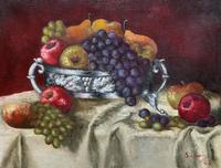 Fabulous 1960 Vintage Antique Still Life Of Fruit Study Oil On Canvas Painting (9 of 12)
