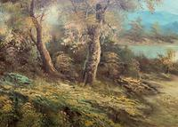 Large Fabulous 20th Century Vintage British Autumn Country Landscape Oil Painting (7 of 12)