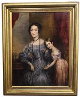 Victorian Oil on Canvas Mother & Daughter Portrait (2 of 10)
