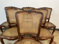Vintage French Louis Style Set Of 6 Cherry Wood Bergère Cane Dining Chairs (5 of 10)
