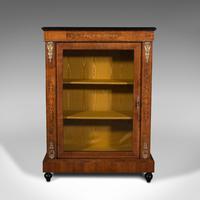 Antique Pier Cabinet, English, Walnut, Inlay, Display Cupboard, Victorian, 1870 (2 of 12)