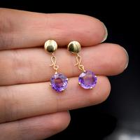 Vintage Natural Amethyst 9ct 9K Yellow Gold Drop Earrings (7 of 7)