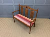 Arts & Crafts Inlaid Oak Bench (11 of 12)