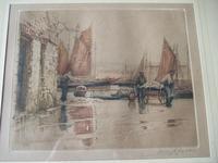 "Henry George Walker (1876-1932): coloured etching ""Landing Fish, Tenby""  ca.1920s"
