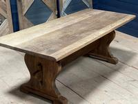 Larger French Bleached Oak Trestle Farmhouse Dining Table (20 of 21)