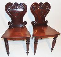 Pair of Regency Mahogany Hall Chairs