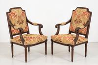 Pair of French Oak Open Armchairs