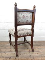Pair of Antique Victorian Gothic Oak Chairs with Floral Upholstery (10 of 10)
